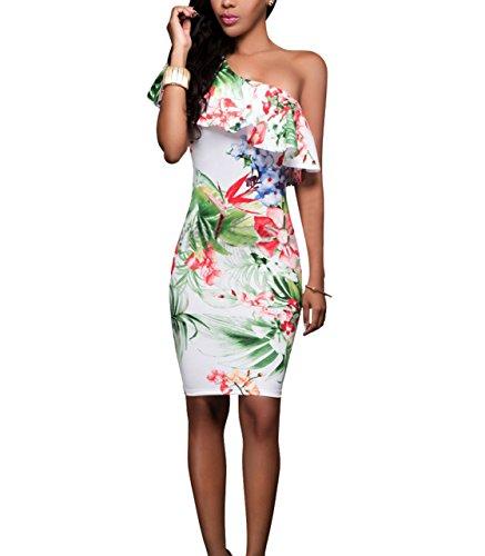 CoCo Fashion Damen Floral Off Shoulder Kleid Stretchkleid Partykleid Bodycon Pencil Kleider Knielang mit Blumen (EU 38-40, Stil 2)