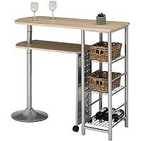 18e4f9a7e7a201 IDIMEX Table Haute de Bar JOSUA Mange-Debout comptoir avec Plateau Mobile  et 3 étagères