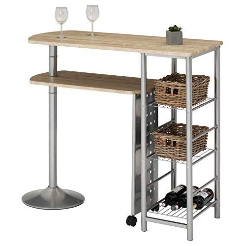 IDIMEX Bartisch Stehtisch Tresen JOSUA, in Sonoma Eiche, mit Regal und schwenkbarem Tisch - 3 Regal Eiche Tisch