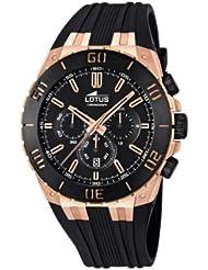 Lotus - Reloj cronógrafo de cuarzo para hombre, correa de goma color negro (cronómetro)