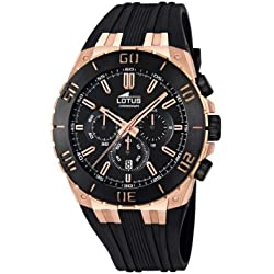 Lotus R Men's Quartz Watch with Black Dial Chronograph Display and Black Rubber Strap 15804/1