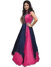 Shree Women's Silk Unstitched Lehenga Choli (SRENT010_Multi-Coloured_Free Size)