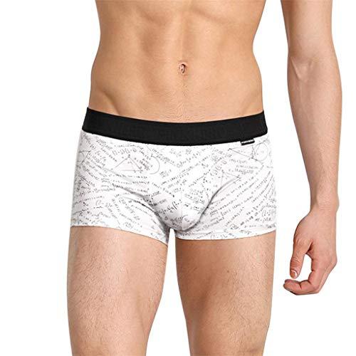 NEEKY Herren UnterwäSche Slip Pink Heroes Fashion Herren Bedruckte Baumwollmischung Kurze, Flachwinklige Sexy Boxer-UnterwäSche MäNner Unterhosen Slip Baumwolle(M,Weiß)