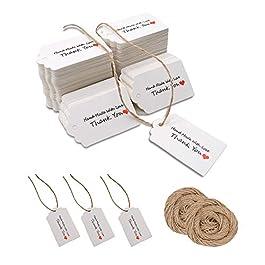 100 etichette in carta kraft vuote per bomboniere, etichette regalo, etichette fai da te, etichette per bagagli…