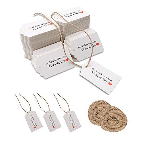200pcs bianco regalo di carta kraft tag per carte di favore di nozze, tag regalo, tag fai da te, etichetta di bagaglio, etichetta di prezzo, negozio hang tag con 40 metri di spago