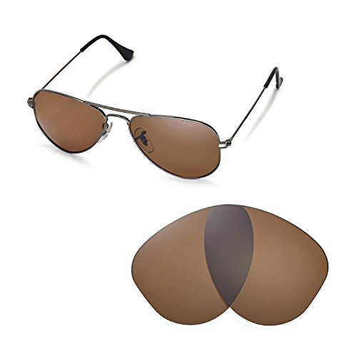 Walleva Ersatzgläser für Ray-Ban Aviator RB3044 Small Metal 52mm Sonnenbrille - Mehrfache Optionen (Braun - polarisiert)