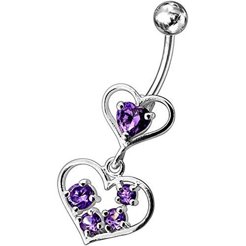 Barres de Pierre en cristal mode Twin coeur Design 925 en argent Sterling avec le ventre en acier inoxydable Purple