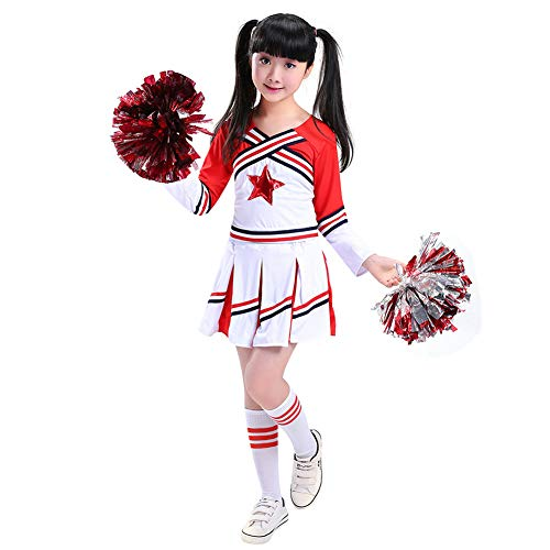 Uniform Junge School Kostüm - G-Kids Mädchen Jungen Cheerleader Kostüm Cheerleading Cheerleader Uniform Kinder Karneval Fasching Party Halloween Kostüm mit 2 Pompoms Socken (Mädchen 160)