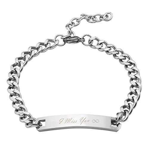 PiercingJ Personalized Kundenspezifische Gravur - Partner Armbänder aus Edelstahl Glatt ID Curb Kette Armband für Herren Damen, silber (Herren Armband)