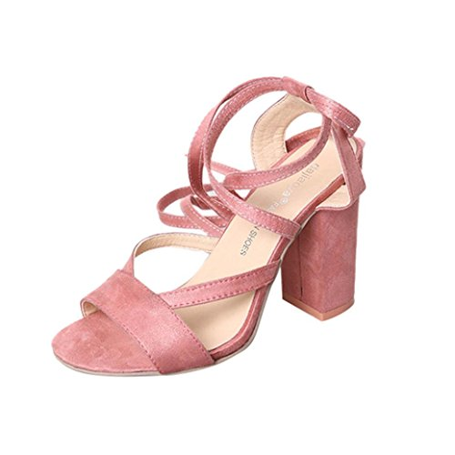 FEITONG Damen Blockabsatz Pumps | High Heel Schuhe | Peep Toe Sandalen Party Bandage Schuhe High Heels (EU:33=CN:34, Pink) (Chunky Heel Slingbacks)
