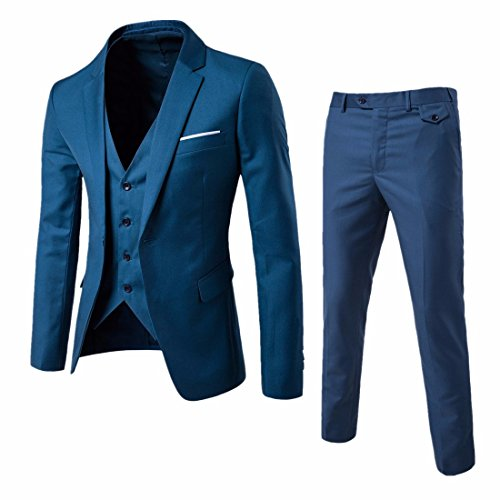 QIYUN.Z Männer Slim Fit One Button Anzug Bräutigam Tuxedo Business Weste Hose 3 Stück Sets