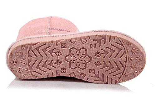 stivali di pelle di mucca delle donne caldo all'interno piane del tallone scarponi da neve pink