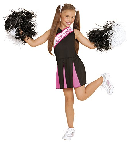 Widmann WDM02448 - Costume Per Bambini Cheerleader Nera/Rosa (158 cm/11-13 Anni ), Nero, S