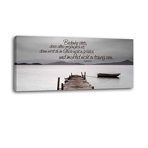 Dalinda® XXL-Wandbild Leinwandbild mit Spruch Vergänglichkeit… 100x40cm Keilrahmenbild Kunstdruck Wandbild Panorama Leinwandbild LS047