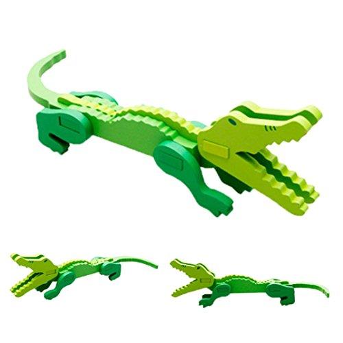 Mini 3D Wooden Animal Puzzle, GreatestPAK Kids Creative Funny Colorful Educational Jigsaw Toys Decor Gift (Crocodile)