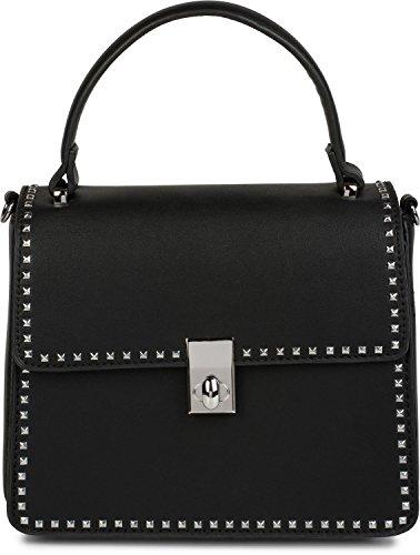 styleBREAKER Satchel Henkeltasche mit Pyramiden Nieten, Handtasche, Tasche, Damen 02012216, Farbe:Schwarz
