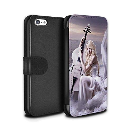 Officiel Elena Dudina Coque/Etui/Housse Cuir PU Case/Cover pour Apple iPhone 5C / Chanson de Fleurs Design / Réconfort Musique Collection Violoncelle/Nuages