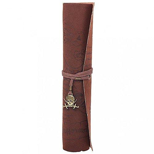 Kcopo Tasche Retro Pirat Schatzkarte Muster aufrollen PU Leder Bleistift Tasche Halter (Schaedel)