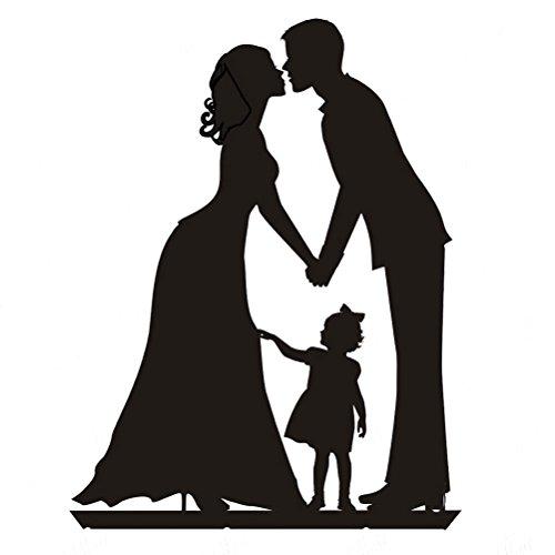 ROSENICE Hochzeitstorte Topper Kuss Braut und Bräutigam Hand in Hand mit einem Mädchen Acryl Tortenaufsätze in schwarz