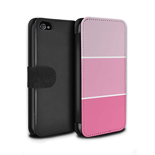 Stuff4 Coque/Etui/Housse Cuir PU Case/Cover pour Apple iPhone 4/4S / Bleu Clair Design / Tons de Couleur Pastel Collection Rose