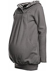 Happy Mama. Para mujer sudadera larga capucha de lactancia top bolsillos. 357p