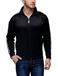 Scott Men's Black Polyester Wrinkle Free Jacket (Black with White Stripes)