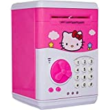Kajal Toys Hello Kitty Bank ATM With Special Electronic Code(Password)/Battery Operated/ Keypad Lock With Changeable Password/ Safe Way To Keep Money/Light And Sound Coin Bank Coin Bank (Pink)