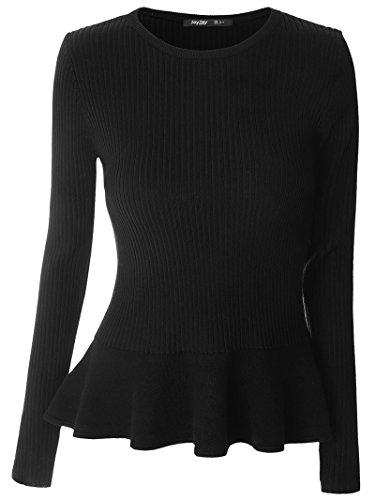 Mooncolour Damen Pullover Gr. L, schwarz (Knit Schwarzes V-neck Cable)