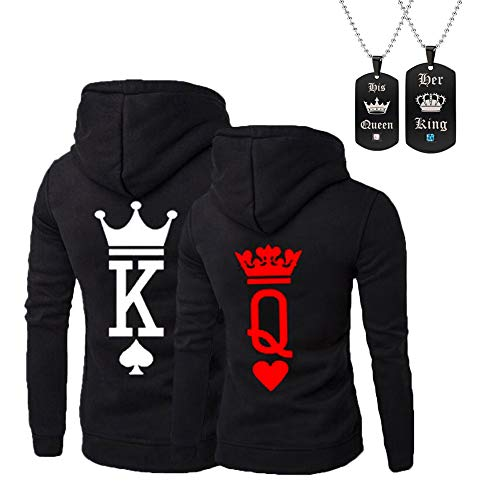 918coshiert Pärchen Pullover & Halskette Set King Queen Hoodies Paar Pulli Sweatshirts Set (Herren M+Damen M Schwarz)