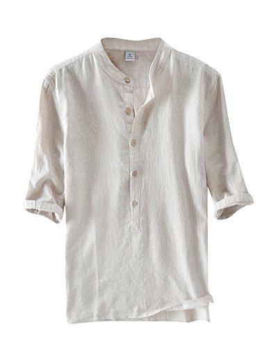 Herren Halber Ärmel Leinen Hemd Streifen Leinen T Shirt Freizeit Stehkragen Hemden Kaki 3XL