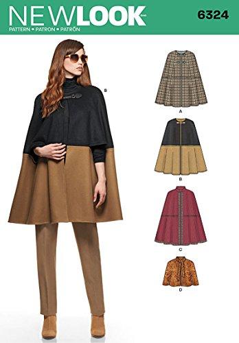 new-look-size-a-xs-s-m-l-xl-sewing-pattern-6324-misses-cape-multi-colour