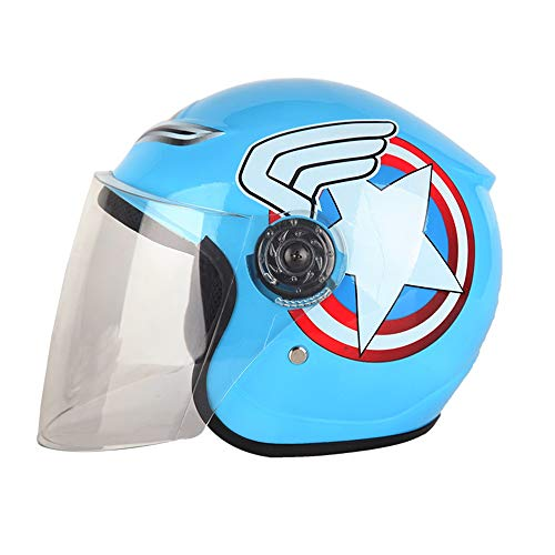 he Motorrad Junge Weibliche Kind Nette Baby Sommer Saison Cartoon Schutzhelm Halben Helm (Color : Blue) ()