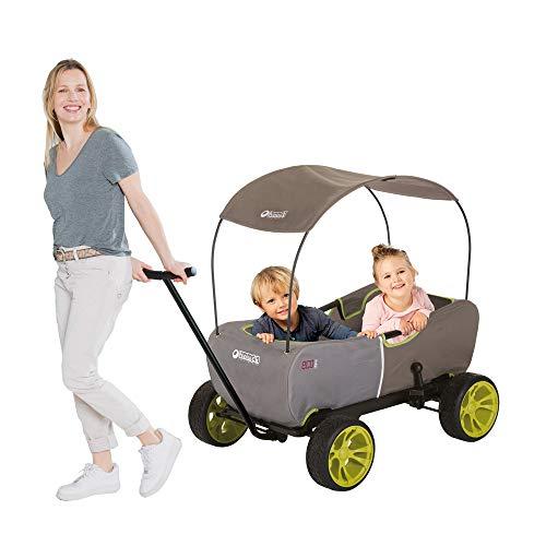 Hauck Eco Mobil - Bollerwagen Handwagen Transportwagen, für 2 Kinder Geeignet, mit Sonnendach und Sitzpolster, Faltbar, Traglast 50 kg - Forest Green