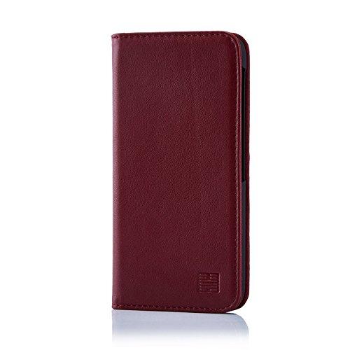 32nd Klassische Series - Lederhülle Case Cover für BlackBerry DTEK60, Echtleder Hülle Entwurf gemacht Mit Kartensteckplatz, Magnetisch und Standfuß - Burgunder