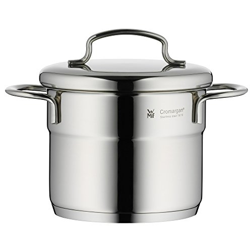 WMF cookware Ø 12 cm approx. 1l Mini stackable pouring rim metal lid Cromargan stainless steel brushed suitable for all stove tops including induction dishwasher-safe