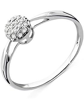 Orovi Damen Verlobungsring Gold Diamantring 9 Karat (375) Diamant 0.07crt Weißgold Ring mit Diamanten