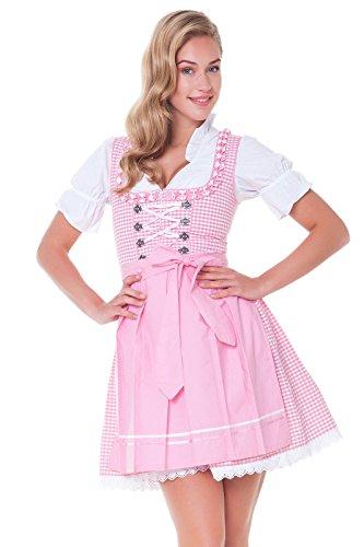 Alpenmärchen, 3tlg. Dirndl-Set - Trachtenkleid, Bluse, Schürze, Gr.38, rosa, ALM624