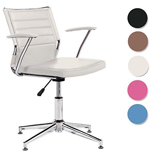 Silla de escritorio para despacho modelo LIFE con base fija color blanco – Sedutahome