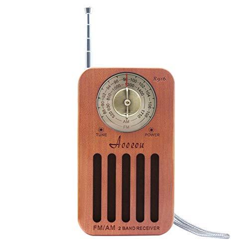Radio Portátil, Mini Radio de Bolsillo Am/FM, Pequeña Receptor de Band Dual de Estilo Receiver Vintage Retro de Madera, Radios portátiles con Auriculares Jack y Pantalla LCD Energizado por Bateria