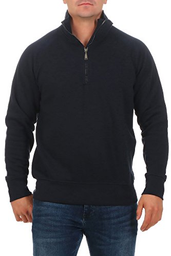 Happy Clothing Herren Pullover halber Reißverschluss ohne Kapuze , Farbe:Dunkelblau, Größe:5XL