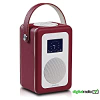 LEMEGA M1+ DAB/DAB+ Digital & FM Radio, Bluetooth Speaker, Wireless Portable, Alarm, Clock, Battery, Leather Stitching Finish - Chilli Red