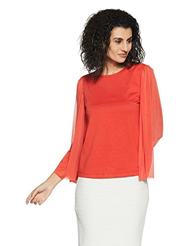 ONLY Damen onlVICTORIA 3/4 MESH Sleeve TOP JRS Bluse, Rot (Aurora Red), 34 (Herstellergröße: XS) (Sleeve Jersey-top 3/4)