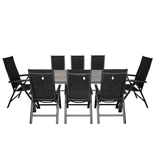 9tlg. Sitzgarnitur Aluminium Polywood Gartentisch 205x90cm Alu Hochlehner 4x4 Textilenbespannung Rückenlehne in 6-Positionen verstellbar Terrassenmöbel Gartengarnitur Sitzgruppe