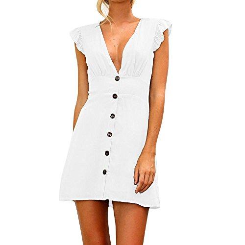 UFACE Damen Minikleid mit V-Ausschnitt Womens Solide Knöpfe Sommer Abendgesellschaft Kleid (S, ()