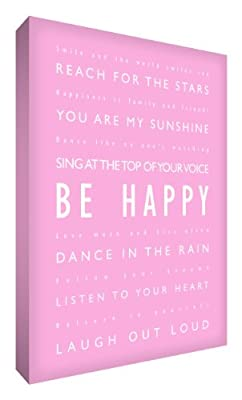 Feel Good Art Thick A4 Nursery Box Canvas Be Happy (12 x 8 x 1.5-inch, Soft Pink)