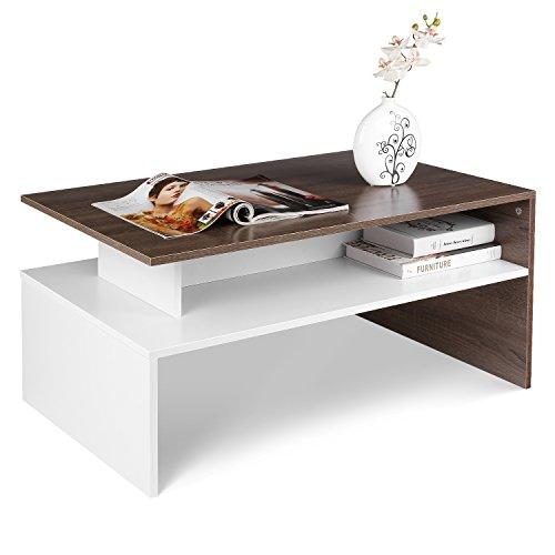Homfa Couchtisch Wohnzimmertisch Beistelltisch Holztisch Kaffeetisch Holz 95x54x43cm (Eiche+Weiß)