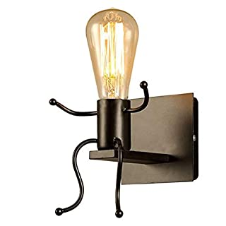 YMYJZ Vintage Wall Light, Creative Retro Industrial Rustic Sconce Wall Light mit E27 Socket for House, Bar, Restaurants, Coffee Shop, Club Decoration, Stair, (Bulb Not Included),Black
