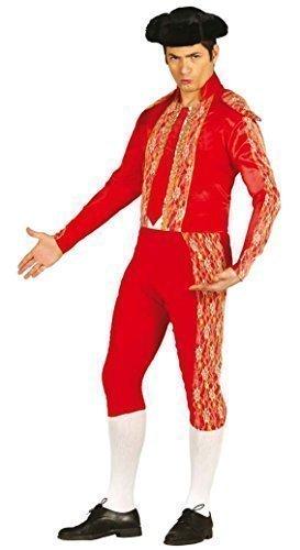 Herren Red Bull Kämpfer Spanisch Matador Kostüm Kleid Outfit Größe L - Rot, Rot, (Jacke Kostüm Matador)
