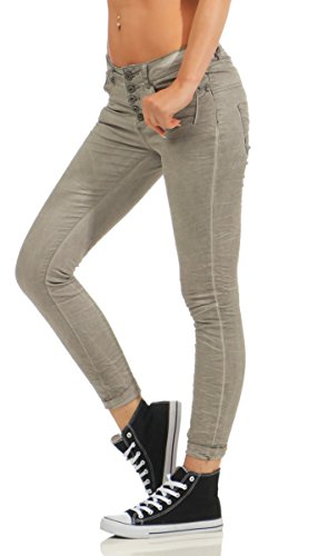 Fashion4Young - Jeans - Femme Turquoise turquoise M = 40 Gris