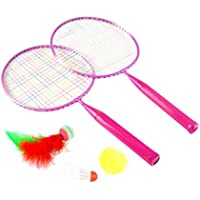 Garneck Raquetas de Bádminton Juego de Raquetas de Tenis Juego de Bádminton Deportes Al Aire Libre Juguetes para Niños Principiantes Rosa